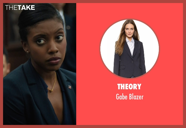 Theory blue blazer from Billions seen with Kate Sacher (Condola Rashad)