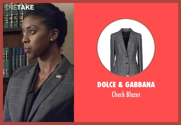 Dolce & Gabbana gray blazer from Billions seen with Kate Sacher (Condola Rashad)