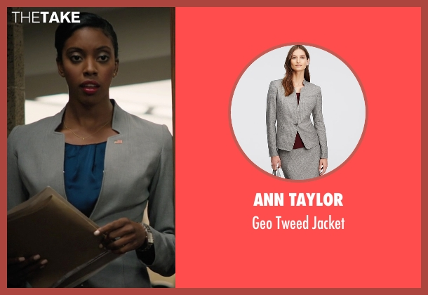 Ann Taylor gray jacket from Billions seen with Kate Sacher (Condola Rashad)