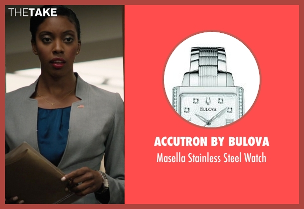 Accutron By Bulova silver watch from Billions seen with Kate Sacher (Condola Rashad)