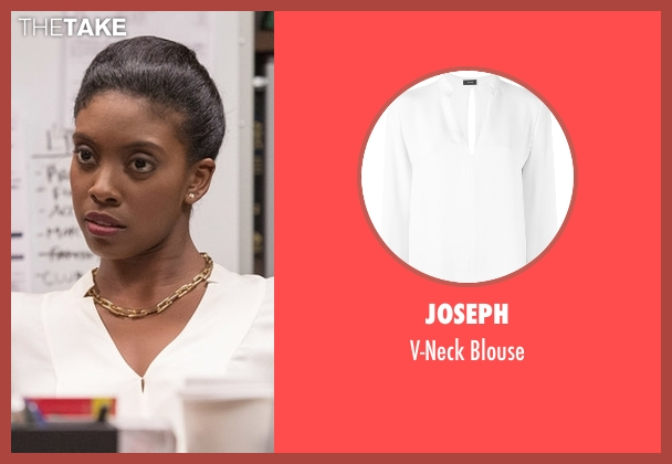Joseph white blouse from Billions seen with Kate Sacher (Condola Rashad)