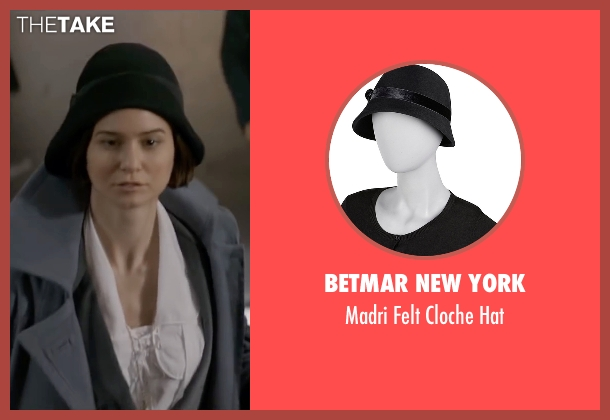 Betmar New York black hat from Fantastic Beasts and Where to Find Them seen with Katherine Waterston (Porpentina Goldstein)