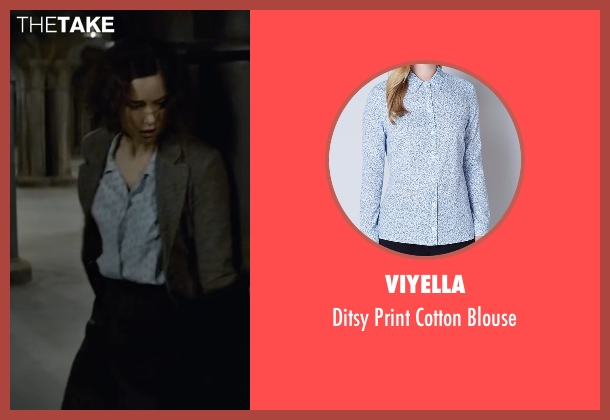 Viyella blue blouse from Fantastic Beasts and Where to Find Them seen with Katherine Waterston (Porpentina Goldstein)