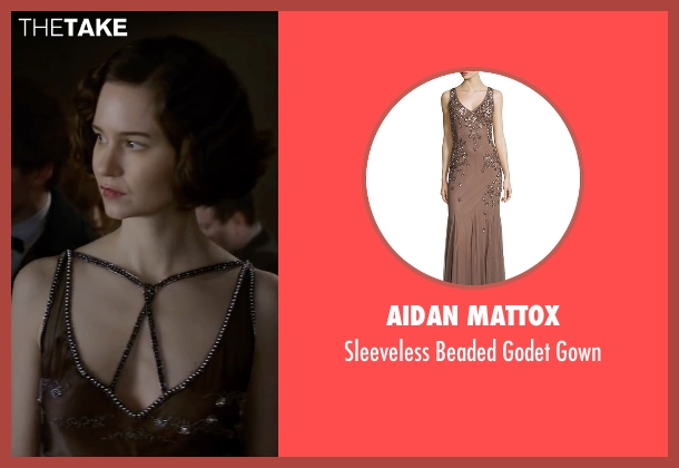 Aidan Mattox brown gown from Fantastic Beasts and Where to Find Them seen with Katherine Waterston (Porpentina Goldstein)