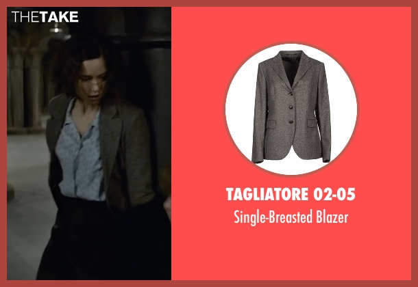 Tagliatore 02-05 gray blazer from Fantastic Beasts and Where to Find Them seen with Katherine Waterston (Porpentina Goldstein)