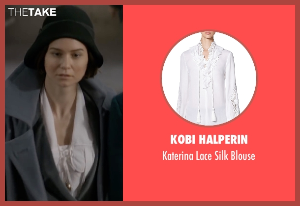 Kobi Halperin white blouse from Fantastic Beasts and Where to Find Them seen with Katherine Waterston (Porpentina Goldstein)