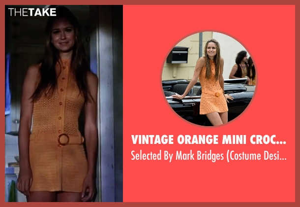 Vintage Orange Mini Crochet Dress orange bridges from Inherent Vice seen with Katherine Waterston (Shasta Fay Hepworth)