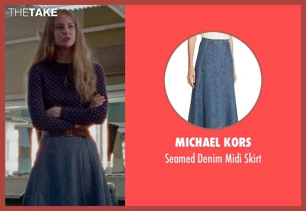 Michael Kors blue skirt from Steve Jobs seen with Katherine Waterston (Chrisann Brennan)