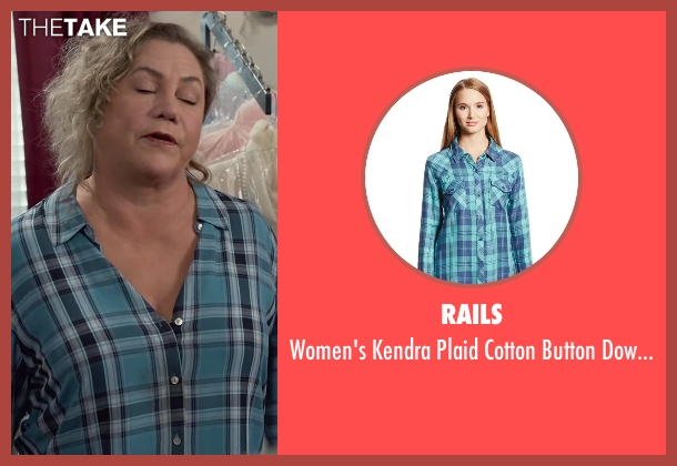 Rails blue shirt from Dumb and Dumber To seen with Kathleen Turner (Fraida Felcher)