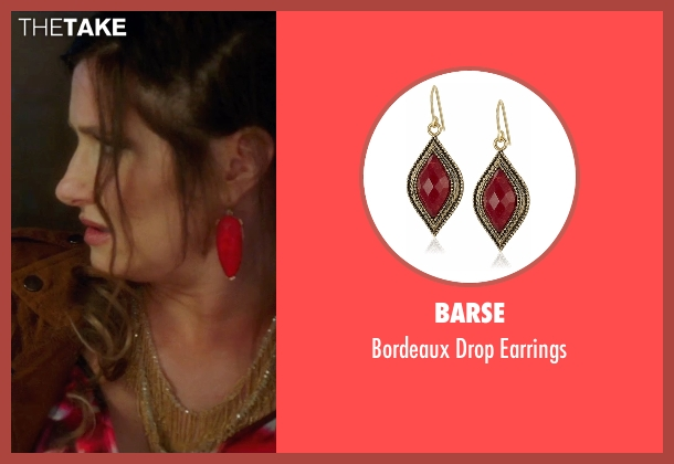 Barse red earrings from Bad Moms seen with Kathryn Hahn (Carla)