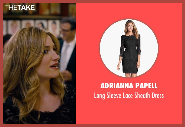 Adrianna Papell black dress from She's Funny That Way seen with Kathryn Hahn (Delta Simmons)