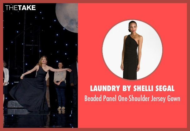 Laundry by Shelli Segal black gown from She's Funny That Way seen with Kathryn Hahn (Delta Simmons)