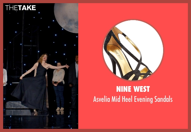 Nine West black sandals from She's Funny That Way seen with Kathryn Hahn (Delta Simmons)