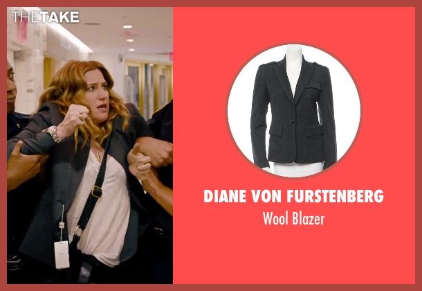 Diane Von Furstenberg gray blazer from She's Funny That Way seen with Kathryn Hahn (Delta Simmons)
