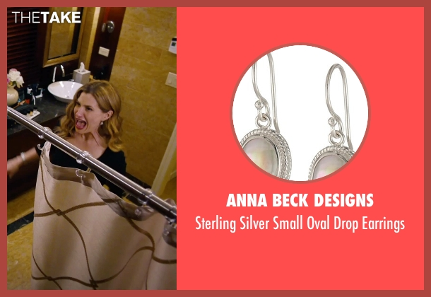 Anna Beck Designs silver earrings from She's Funny That Way seen with Kathryn Hahn (Delta Simmons)