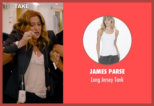 James Parse white tank from She's Funny That Way seen with Kathryn Hahn (Delta Simmons)