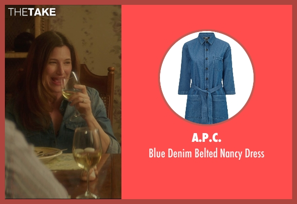 A.P.C. blue dress from The D Train seen with Kathryn Hahn (Stacey)