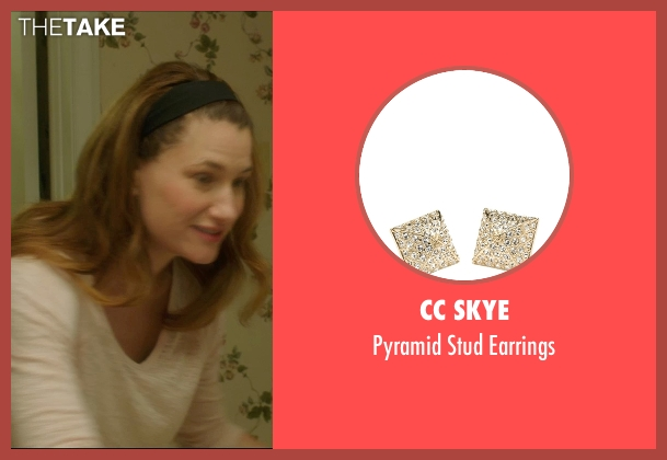 CC Skye gold earrings from The D Train seen with Kathryn Hahn (Stacey)