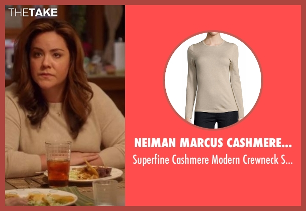 Neiman Marcus Cashmere Collection beige sweater from American Housewife seen with Katie (Katy Mixon)