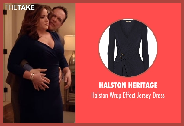 Halston Heritage blue dress from American Housewife seen with Katie (Katy Mixon)
