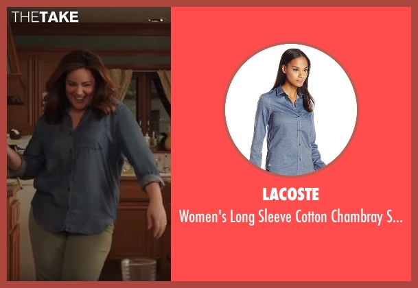 Lacoste blue shirt from American Housewife seen with Katie (Katy Mixon)