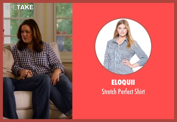 Eloquii blue shirt from American Housewife seen with Katie (Katy Mixon)