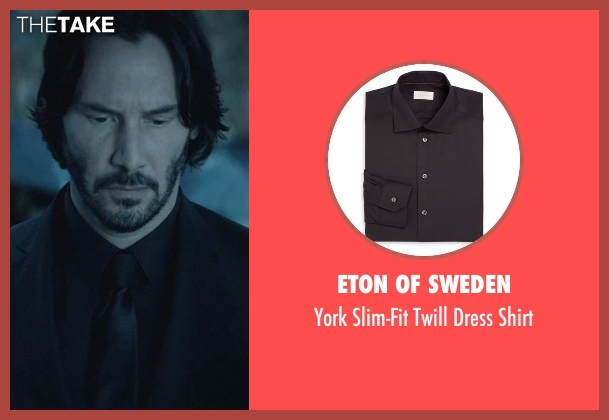 Eton of Sweden black shirt from John Wick seen with Keanu Reeves (John Wick)