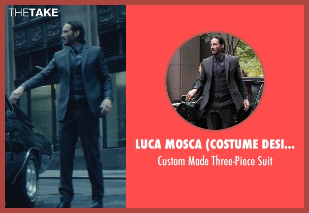 Luca Mosca (Costume Designer) black suit from John Wick seen with Keanu Reeves (John Wick)