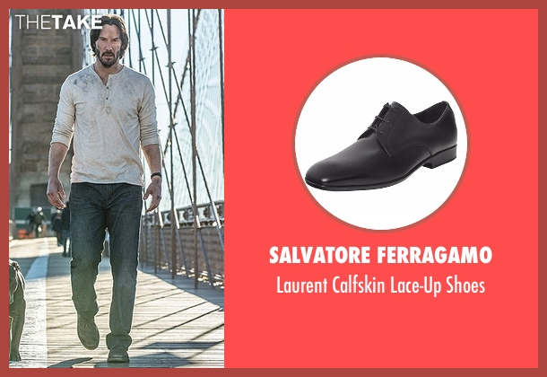 Salvatore Ferragamo black shoes from John Wick: Chapter 2 seen with Keanu Reeves (John Wick)