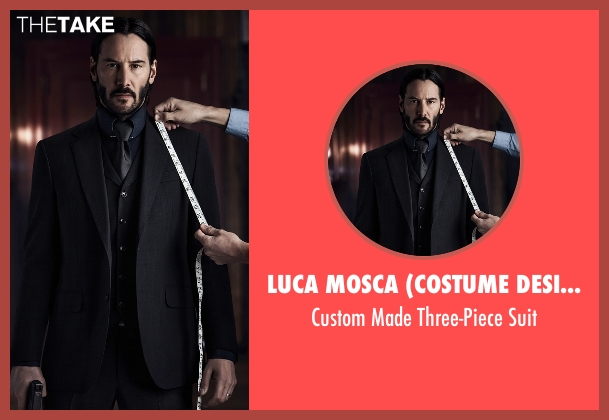 Luca Mosca (Costume Designer) black suit from John Wick: Chapter 2 seen with Keanu Reeves (John Wick)