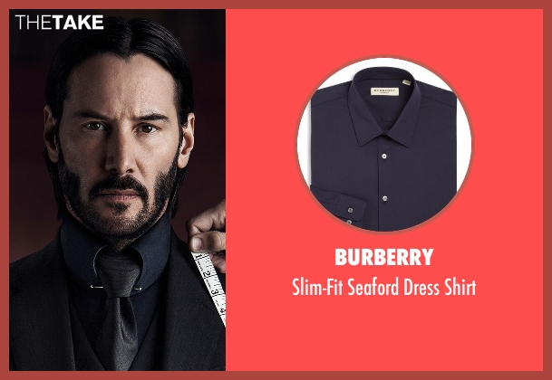 Burberry blue shirt from John Wick: Chapter 2 seen with Keanu Reeves (John Wick)