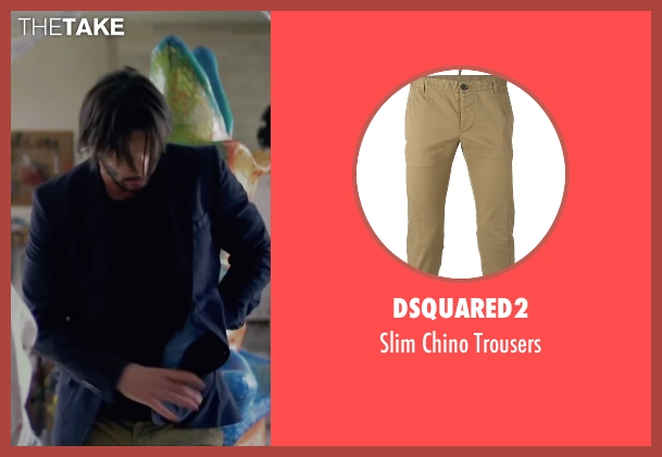 Dsquared2 beige trousers from Knock Knock seen with Keanu Reeves (Evan Webber)