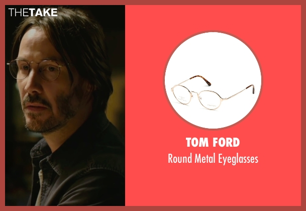 Tom Ford gold eyeglasses from Knock Knock seen with Keanu Reeves (Evan Webber)