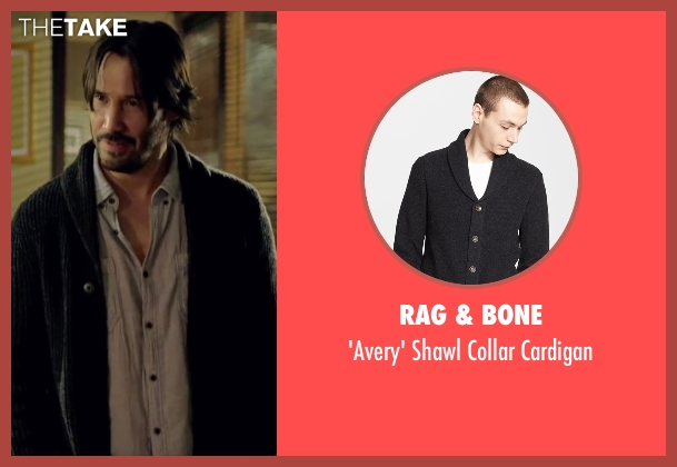 Rag & Bone gray cardigan from Knock Knock seen with Keanu Reeves (Evan Webber)