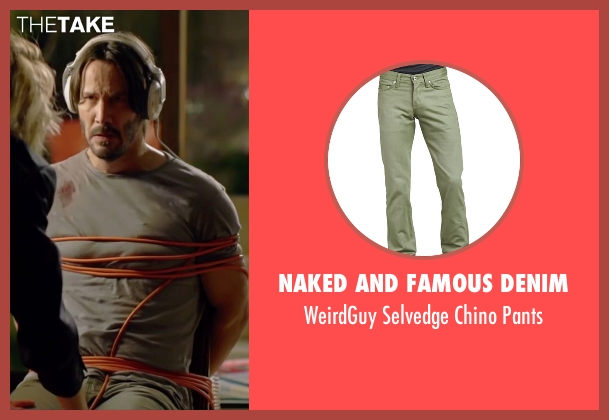 Naked and Famous Denim	 green pants from Knock Knock seen with Keanu Reeves (Evan Webber)