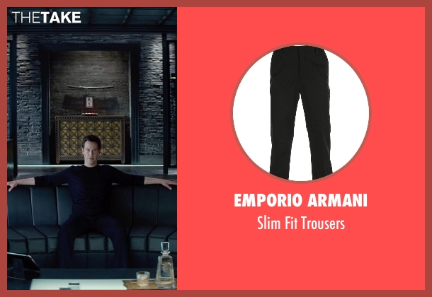 Emporio Armani black trousers from Man of Tai Chi seen with Keanu Reeves (Donaka Mark)