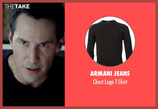 Armani Jeans black t-shirt from Man of Tai Chi seen with Keanu Reeves (Donaka Mark)