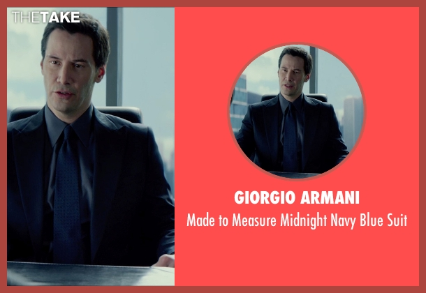 Giorgio Armani blue suit from Man of Tai Chi seen with Keanu Reeves (Donaka Mark)