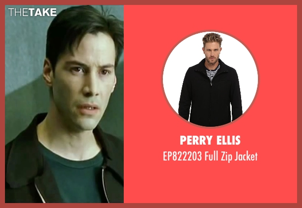 Perry Ellis black jacket from The Matrix seen with Keanu Reeves (Neo)