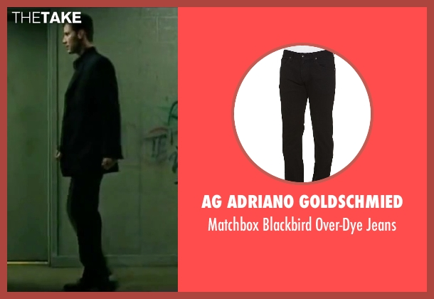 AG Adriano Goldschmied black jeans from The Matrix seen with Keanu Reeves (Neo)