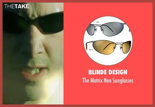 Blinde Design black sunglasses from The Matrix seen with Keanu Reeves (Neo)