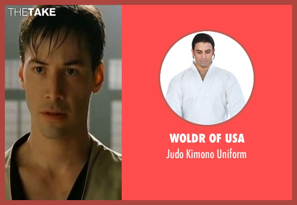 Woldr of USA uniform from The Matrix seen with Keanu Reeves (Neo)