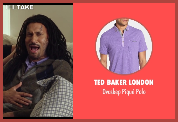 Ted Baker London purple polo from Let's Be Cops seen with Keegan-Michael Key (Unknown Character)