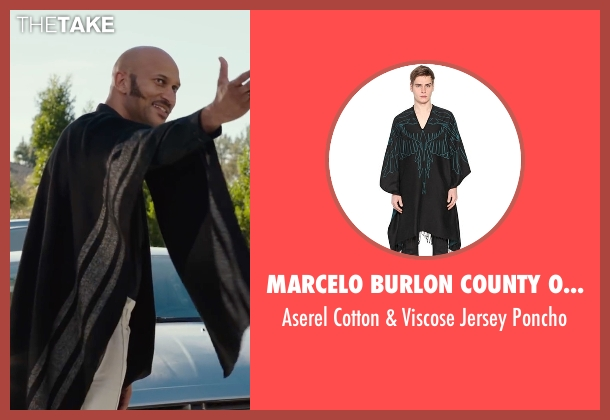 Marcelo Burlon County Of Milan black poncho from Why Him? seen with Keegan-Michael Key (Gustav)