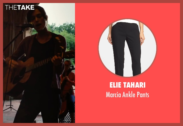 Elie Tahari black pants from Begin Again seen with Keira Knightley (Gretta)