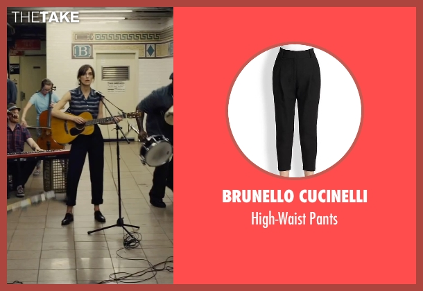 Brunello Cucinelli black pants from Begin Again seen with Keira Knightley (Gretta)