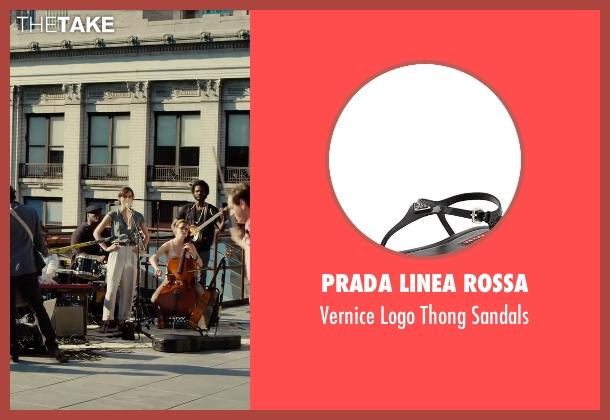 Prada Linea Rossa black sandals from Begin Again seen with Keira Knightley (Gretta)