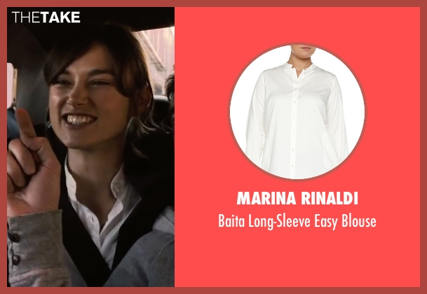 Marina Rinaldi white blouse from Begin Again seen with Keira Knightley (Gretta)
