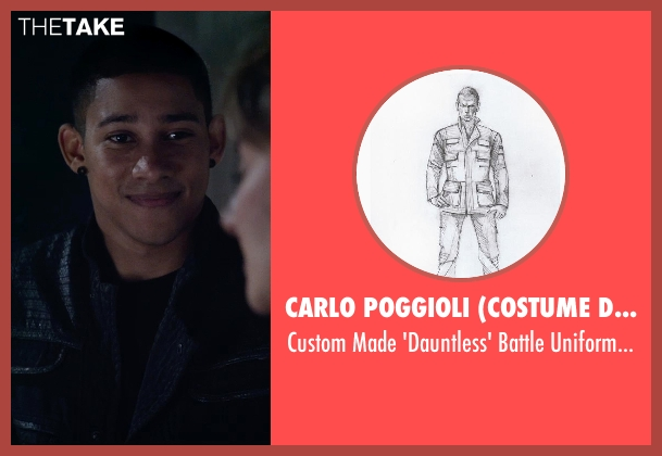 Carlo Poggioli (Costume Designer) black jacket from The Divergent Series: Insurgent seen with Keiynan Lonsdale (Uriah)