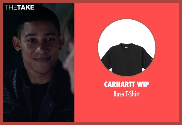 Carhartt WIP black t-shirt from The Divergent Series: Insurgent seen with Keiynan Lonsdale (Uriah)